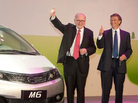 Buffet and Bill Gates during a visit to BYD in 2010