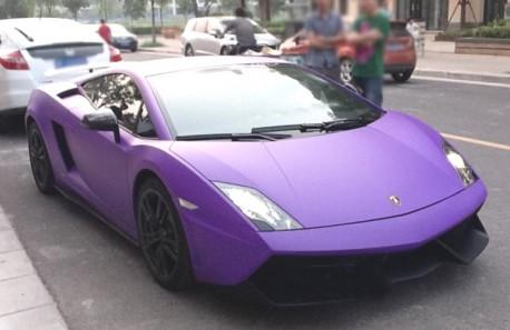 Lamborghini on Lamborghini Gallardo Wrapped In Purple In China   Carnewschina Com