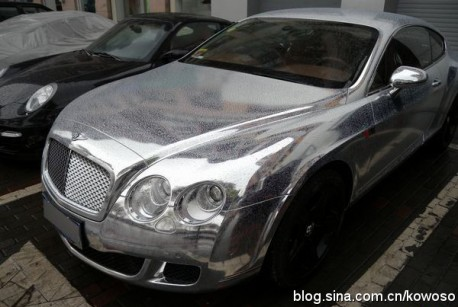 Chrome-wrapped Bentley Continental in China