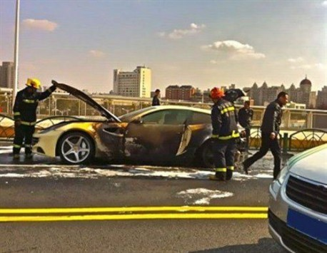 Ferrari FF on fire in China
