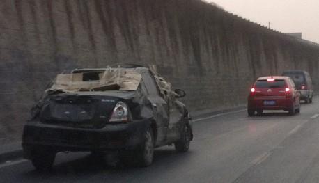 Hyundai Elantra China still driving after accident