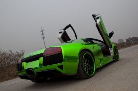 Shiny lime-green Lamborghini Murcielago