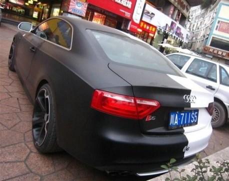 Audi S5 Coupe in matte-black, and white