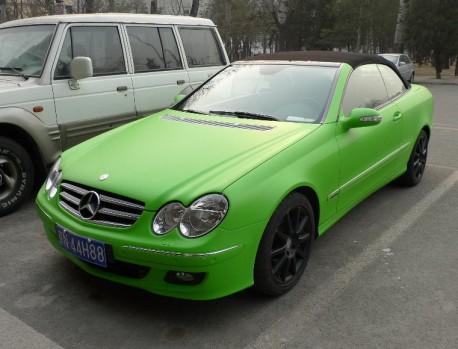 lime-green Mercedes-Benz CLK convertible