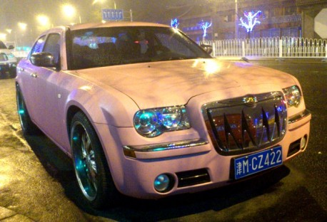 pink Chrysler 300C in China