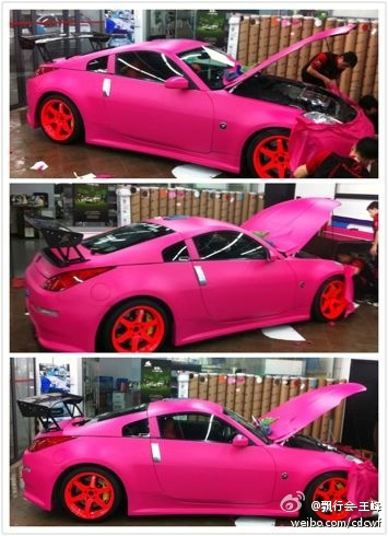 pink Nissan 350Z from China