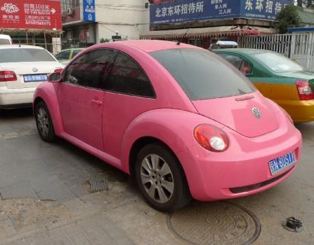 Pink Volkswagen New Beetle in China