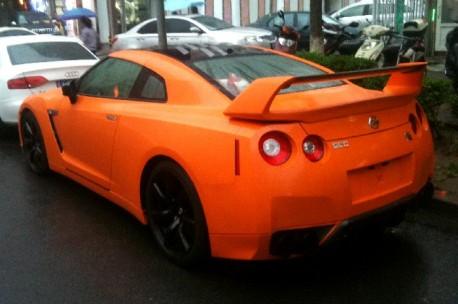 Orange Nissan GT-R