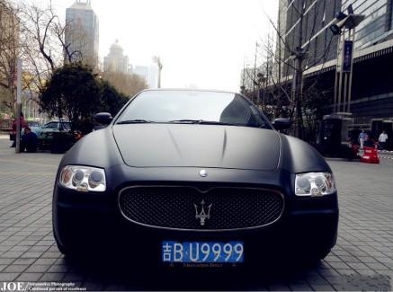 Matte-black Maserati Quattroporte