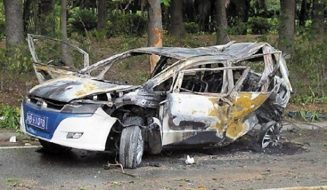 BYD electric taxi fire