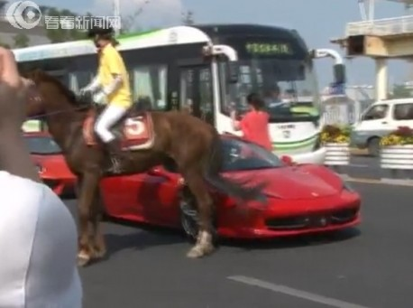 Horse kicks Ferrari in China