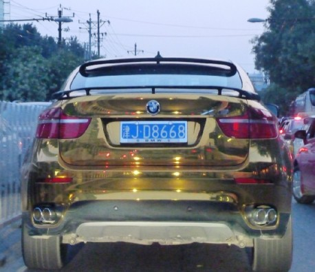 Bling! BMW X6 in Gold in China