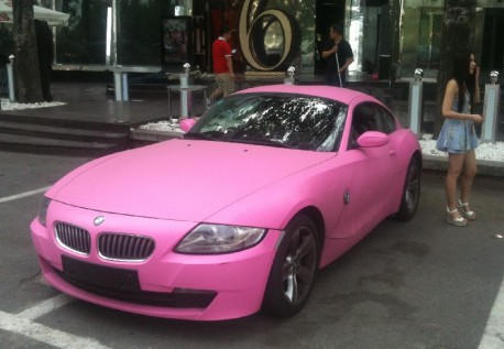 Pink BMW Z4 Coupe with a bit of Babe