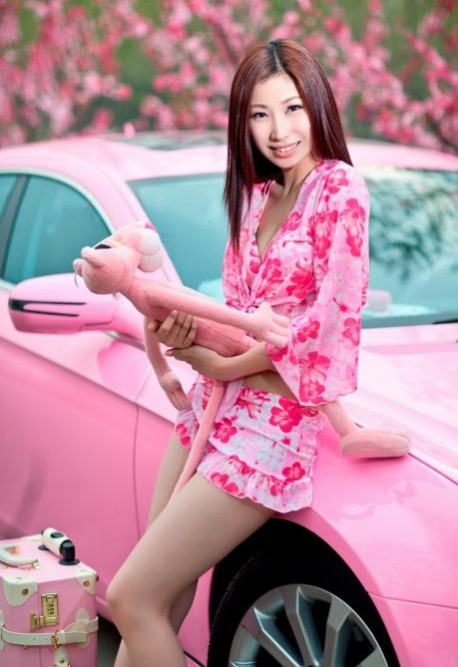 Chinese girl in Pink with Pink Panther on Pink Benz