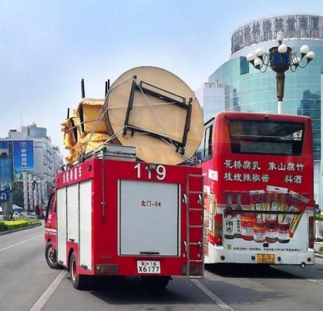 Moving some stuff with the Fire Truck in China