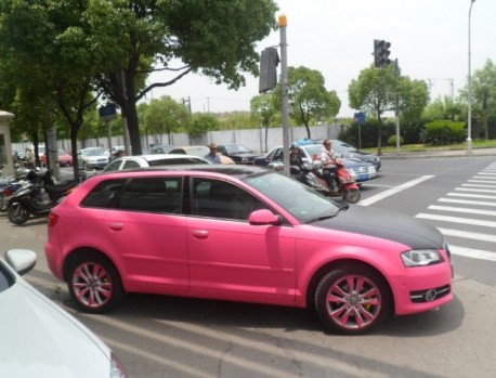Audi A3 in pink and some black in China