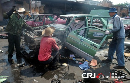 156 illegal taxi's Destroyed in China