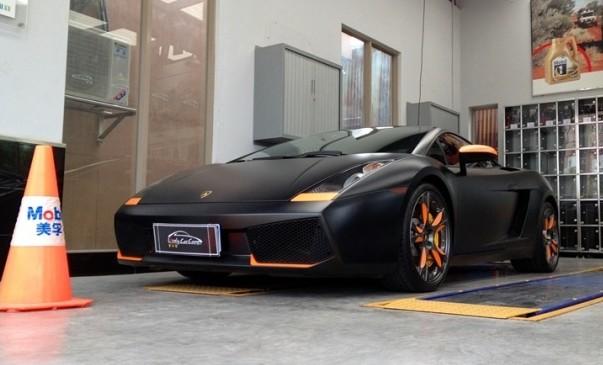 Lamborghini Gallardo In Matte Black And Some Orange In China