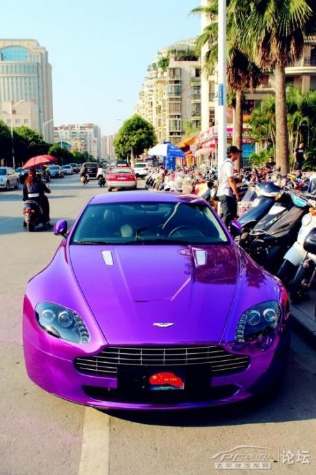 Aston Marin V8 Vantage is shiny purple in China