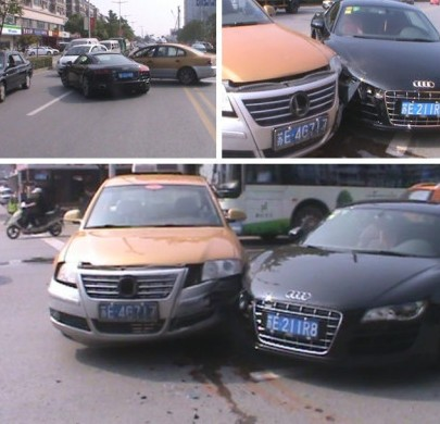 Taxi hits Audi R8 in China