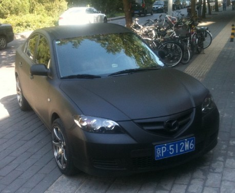 Mazda 3 is carbon fiber matte black in China