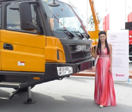 Pretty Babe on a Truck Crane in China