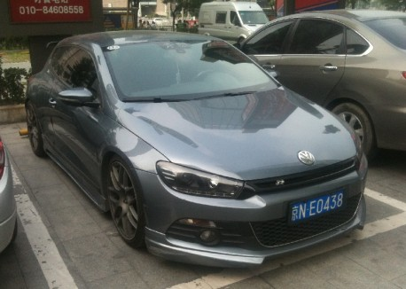 Volkswagen Scirocco with a fat-ass body kit in China