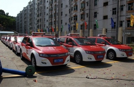 BYD e6 taxi's in Shenzhen, China