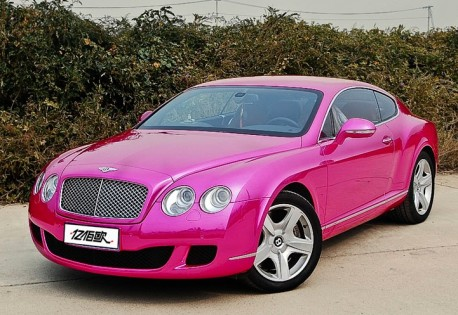 Bentley Continental GT is purple-pink in China