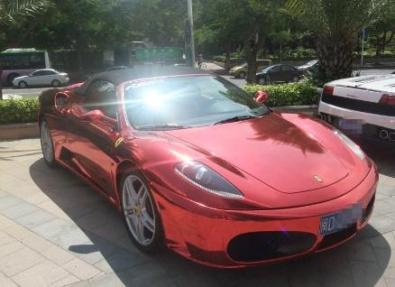 Ferrari F430 is metallic-shiny-red in China