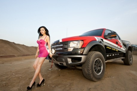 A Hot Chinese Girl and a Big American Ford F-150 Raptor