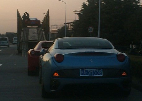Another truck full of Ferrari supercars in China