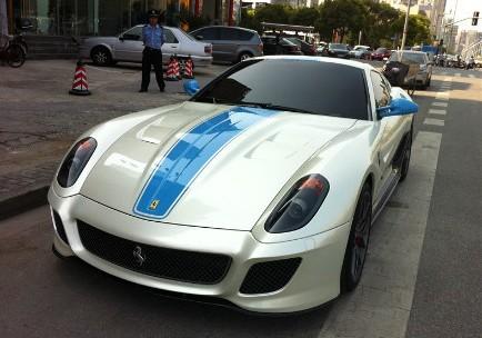 Ferrari 599 GTO in white & blue in China