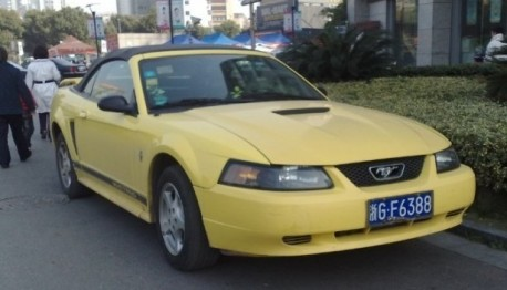 Fourth generation Ford Mustang Convertible is Yellow in China