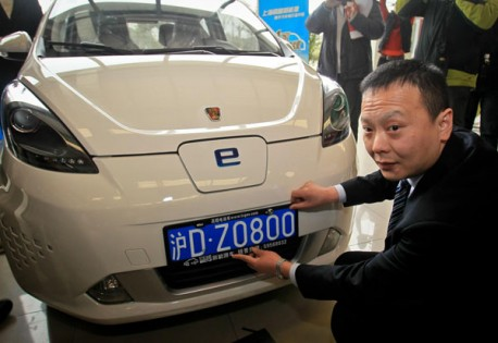 First free license plate for an electric car in Shanghai