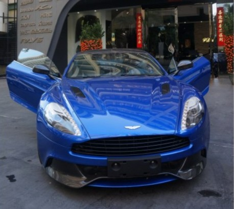 Aston Martin Vanquish in Blue in China