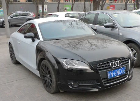 Audi TT is matte gray-ish blue and black in China