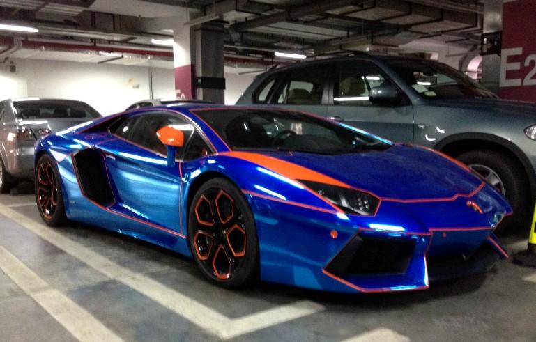 another shot at the the shiny blue orange lamborghini aventador from china - Lamborghini Black And Blue
