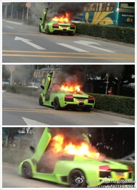 Lamborghini Murcielago Burns in China