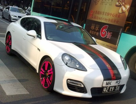 Porsche Panamera with Pink Alloys in China