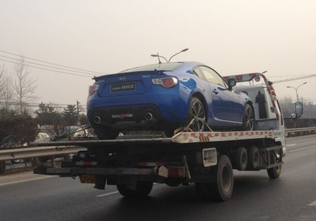 Subaru BRZ on a Truck in China