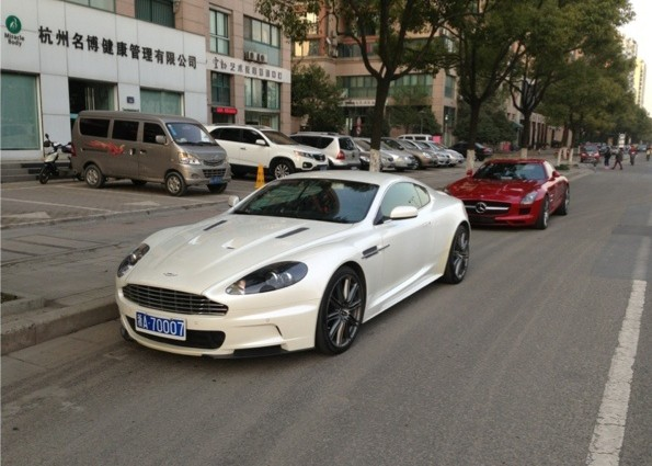 Aston Martin Dbs And Mercedes Benz Sls Amg In White Red In China