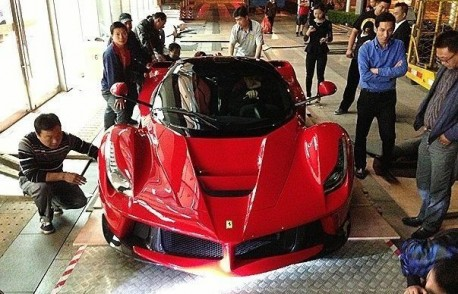 Ferrari LaFerrari arrives at the Shanghai Auto Show