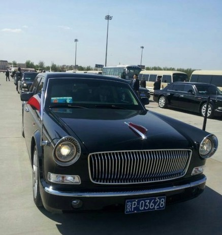 French President François Hollande gets a Ride in the Hongqi L5 in China