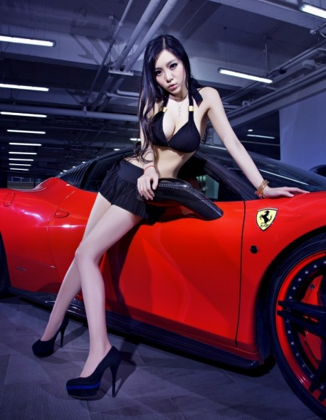 Pretty Chinese Girl gets very Close with a Ferrari 458