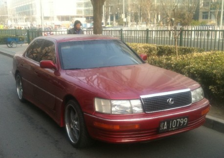 Lexus LS400 in Red with a Body Kit in China
