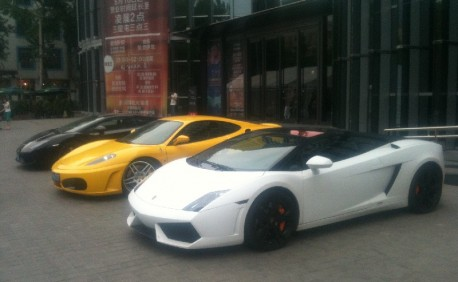 An impressive supercar line-up in Beijing, China