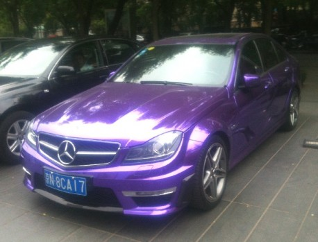 Mercedes-Benz C63 AMG is shiny purple in China