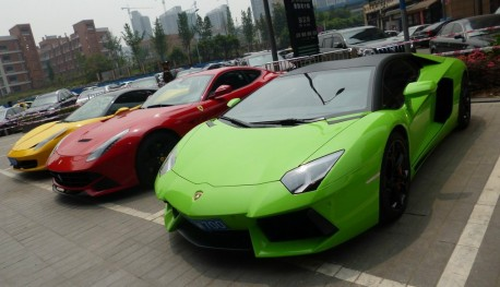 An impressive Supercar line-up in Chongqing China