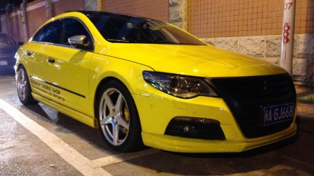 Volkswagen Passat CC is a Yellow Low Rider in China